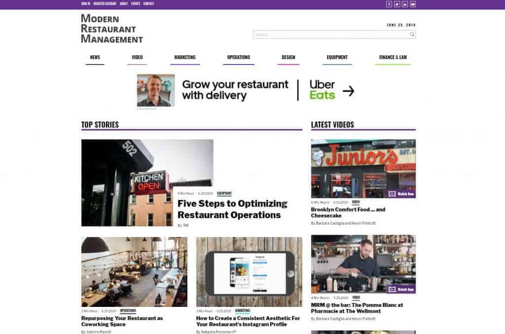 modern restaurant management website