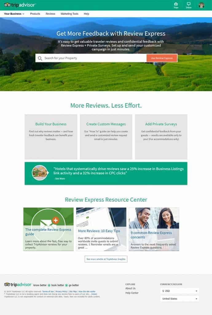 tripadvisor review express homepage