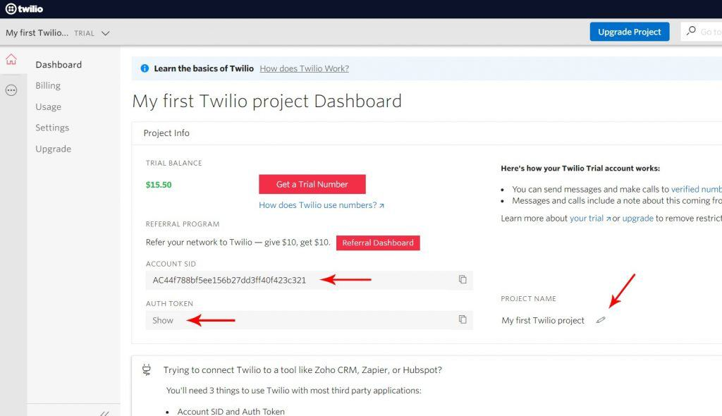 twilio auth token and project name