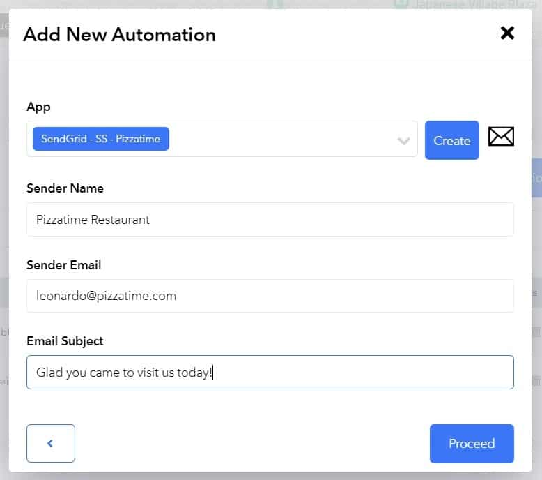 New Automation Sender Details